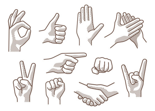 Drawing hand sign with shadow, vector illustration