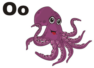 octopus, marine octopus, purple octopus,  illustration, cartoon,  abc, letters, o