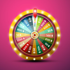 Wheel of Fortune with Jackpot on Pink Background