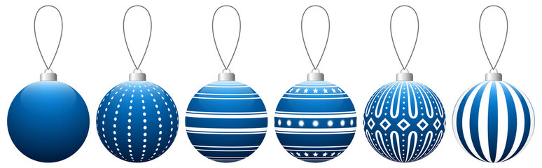 Collection of blue glass Christmas balls with pattern hanging on a thread. Vector EPS 10