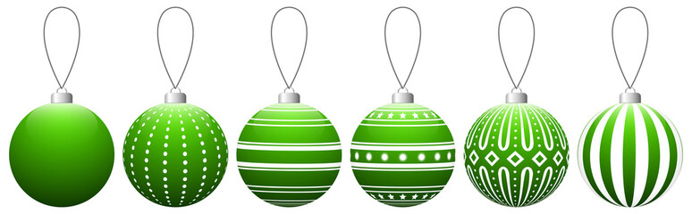 Collection of light green glass Christmas balls with pattern hanging on a thread. Vector EPS 10