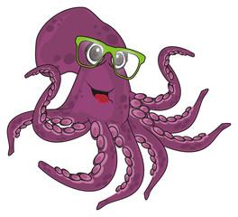 octopus, marine octopus, purple octopus, purple, eight, cartoon, marine life, glasses