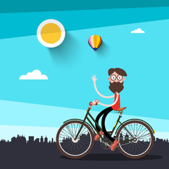 Man on Bicycle Vector Flat Design Illustration