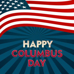 Happy Columbus Day National Usa Holiday Greeting Card With Ship Over American Flag Flat illustration