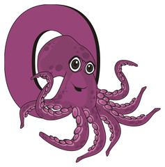 octopus, marine octopus, purple octopus, purple, eight, cartoon, marine life, number, letter, o