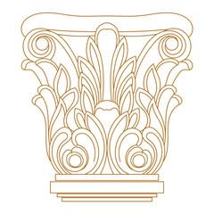 Set of golden vintage baroque ornament, corner. Retro pattern antique style acanthus.
