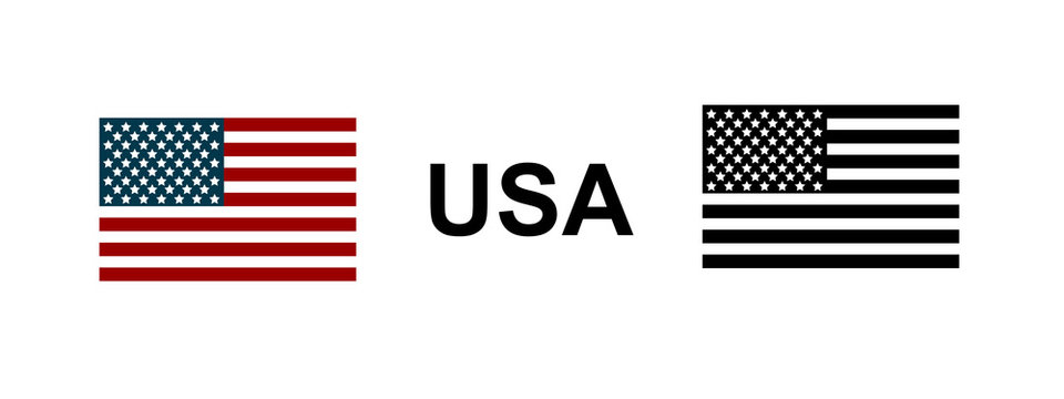 Flag USA in red, blue and black color