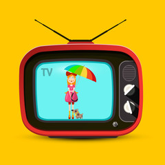 Red Retro TV. Woman with Parasol on Screen. Vector Vintage Device on Yellow Background.