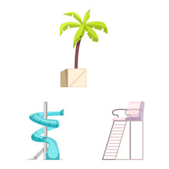 Vector illustration of pool and swimming sign. Collection of pool and activity stock symbol for web.