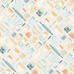 Colorful kitchen utensils, dishes, plates, cups, teapots. Pattern. on a light background.