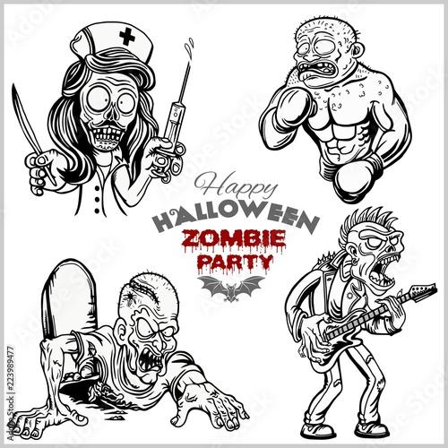 Cartoon Zombie Set Isolated On White Stock Image And Royalty Free