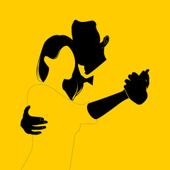 Silhouette of couple dancing on yellow background