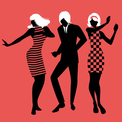 Fototapete - Elegant silhouettes of people wearing clothes of the sixties dancing 60s style on red background