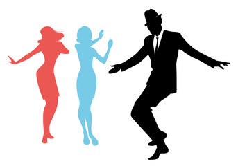 Fototapete - Elegant silhouettes of people wearing clothes of the sixties dancing 60s style isolated on white background