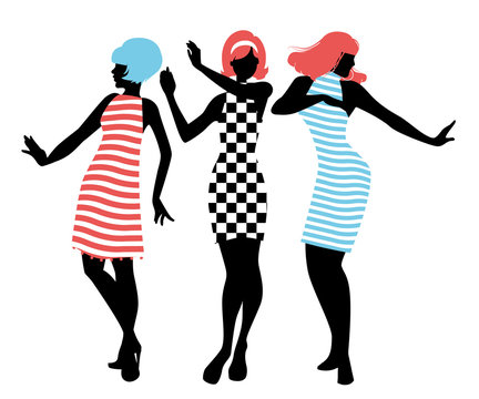 Elegant silhouettes of three girls wearing clothes of the sixties dancing 60s style isolated on white background