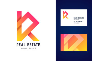 Real estate, home sales logo and business card template.