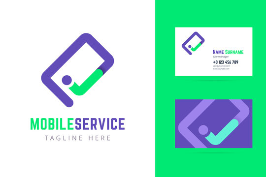 Mobile service logo and business card template.
