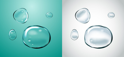 Vector Soap Water Bubbles Set. Transparent Isolated Realistic Design Elements. Can be used with any Background.
