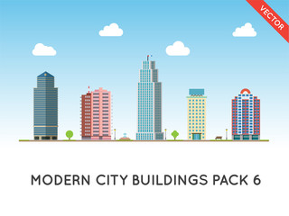 Cityscape Flat Style. City Buildings Vector Illustration, Modern Big Height Skyscrapers Town, Urban Street Landscape