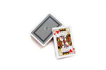 Deck of cards and king of hearts isolated on white background.