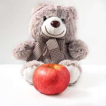 Bear with Red Apple