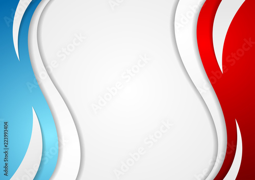 Abstract Red And Blue Corporate Wavy Background Stock Image And