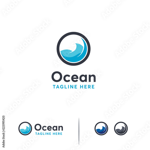 ocean logo designs template ocean wave logo symbol travel logo template
