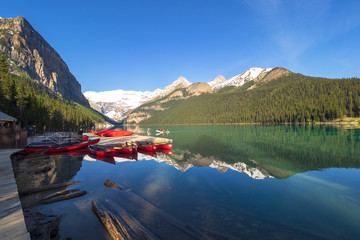 Lake Louise with view of Mountain and its reflection on clear blue sky, Banff National Park, Alberta