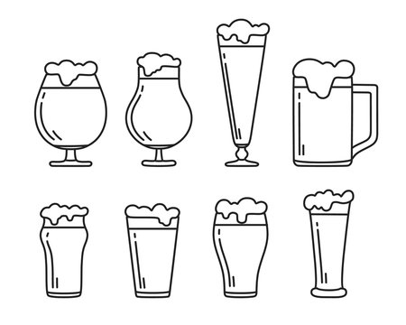 Set of beer glasses and mug with foam icons. Vector isolated.