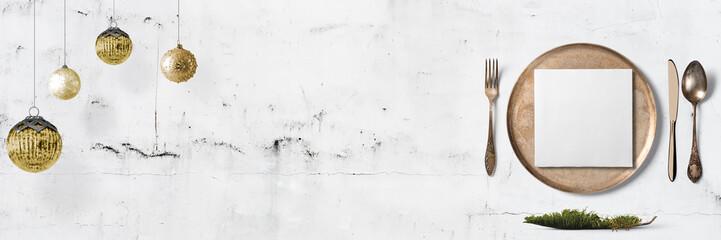 Weihnachtliches Tischgedeck - Banner / Hintergrund - Textfreiraum