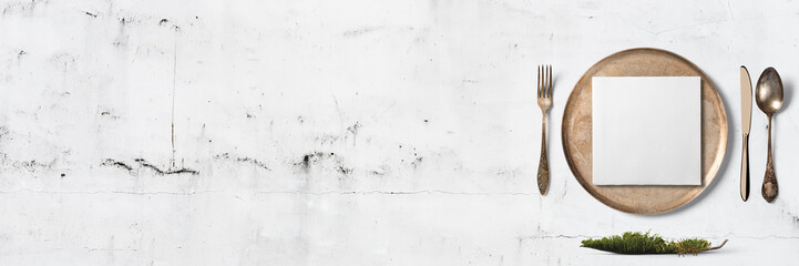 Einfaches Tischgedeck - Banner / Hintergrund - Textfreiraum