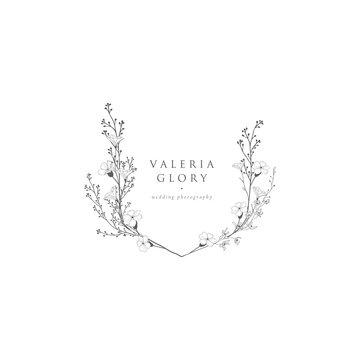 Vector Floristic Feminine Brand Logo Template Frame.