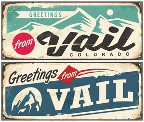 Vail Colorado retro souvenir from winter holiday destination. Vintage greeting card template from Vail USA. Vector illustration.
