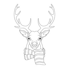 Portrait, head deer in scarf, coloring for children and adults.