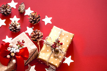 Christmas concept, two gift boxes with red background