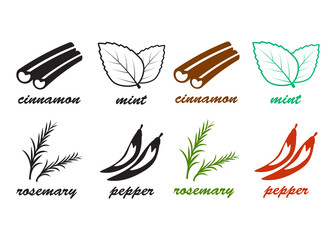 Spice icons set. Natural ingredient vector icons