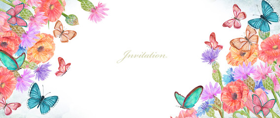 Fotobehang Vlinders in Grunge banner with lovely summer flowers and butterflies. watercolor painting
