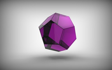 3d illustration of dodecahedron isolated on white