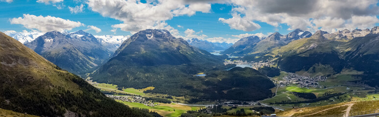 Panoramic view from Muottas Muragl (Engadin, Switzerland), in the Swiss canton of Graubunden. It overlooks Engadin, between the towns of Samedan, Pontresina and St. Moritz towards Silvaplana.  Wall mural