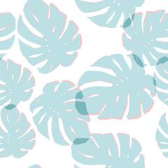 Blue monstera leaves seamless pattern white background