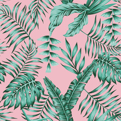 Tropical plants green colors seamless pink background