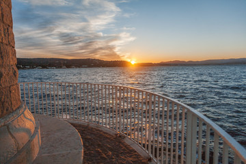 Wall Mural - Beautiful sea sunset, observation deck, bay of Saint-Tropez France, bright landscape