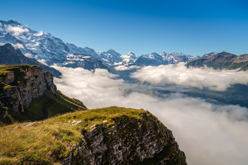 View from Mannlichen at the Bernese Alps (Berner Oberland, Switzerland). It is a mountain (2,343 metre) reachable from Wengen with a aerial cableway or from Grindelwald using a gondola cableway.