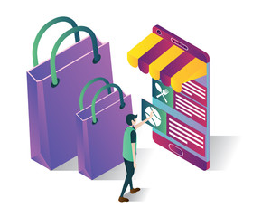 online shop isometric icons concept,shopping online illustration vector , isolated shopping online illustration