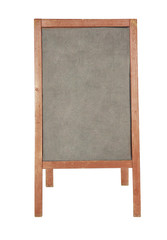 Empty wooden menu message chalkboard isolated on white.