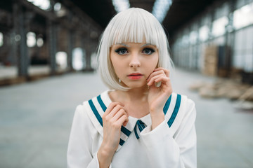 Anime girl, blonde woman with makeup