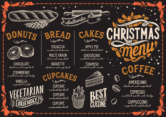 Christmas menu template for bakery on blackboard.