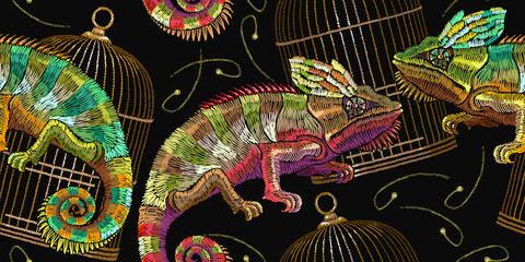 Embroidery color chameleons and golden bird's cages seamless pattern. Classical embroidery lizard chameleons. Template for clothes, textiles, t-shirt design
