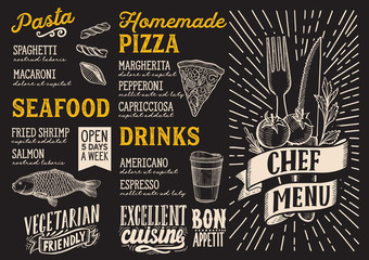 Menu food template for restaurant with doodle hand-drawn graphic.