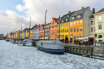 Tuinposter Scandinavië Colored facades of Nyhavn in Copenhagen in Denmark in winter